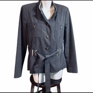 Apostrophe Gray Striped Belted Jacket Size 14